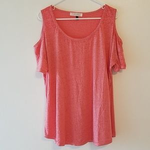 Planet Gold heathered tee cold shoulder
